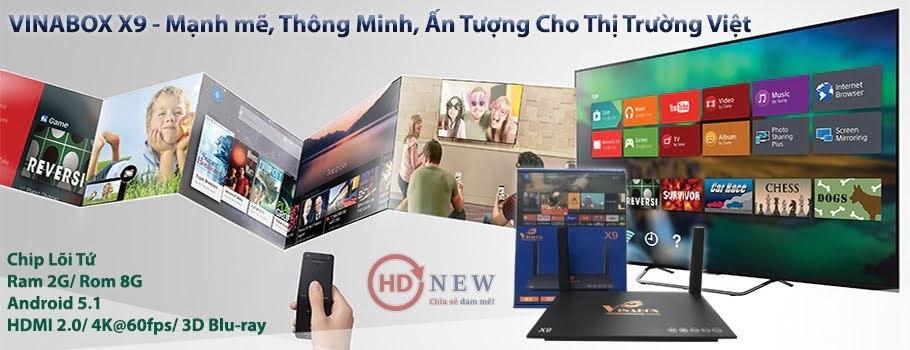 VinaBox X9 - cấu hình mạnh mẽ, Android 5.1 Lollipop, giao diện thuần Việt - HDnew Hà Nội