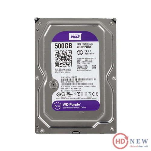 "Ổ cứng HDD Western Digital Purple 3.5"" WD05PURX 500GB | HDnew - Chia sẻ đam mê"