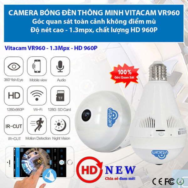 Vitacam VR960 - Camera panorama góc siêu rộng, 1.3MP (HD 960P) | HDnew - Chia sẻ đam mê