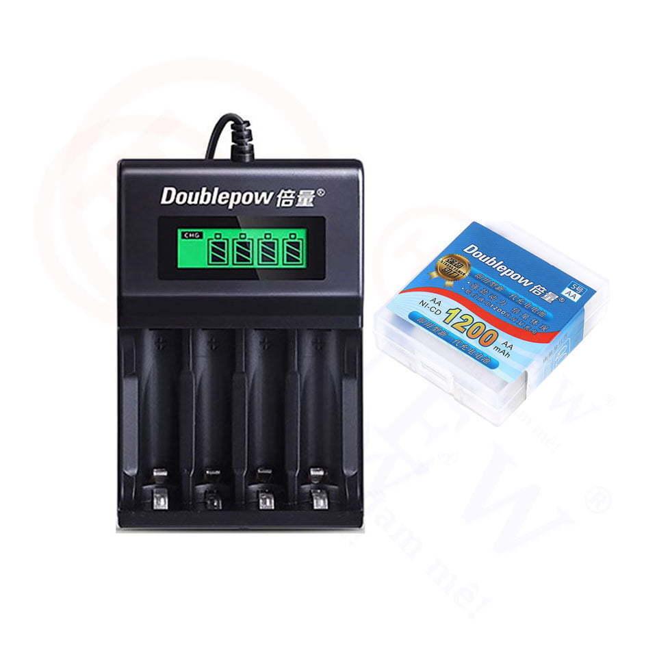 Bộ sạc pin Doublepow UK93B (có LED hiển thị) kèm 4 pin sạc AA 1200mAh | HDnew - Chia sẻ đam mê