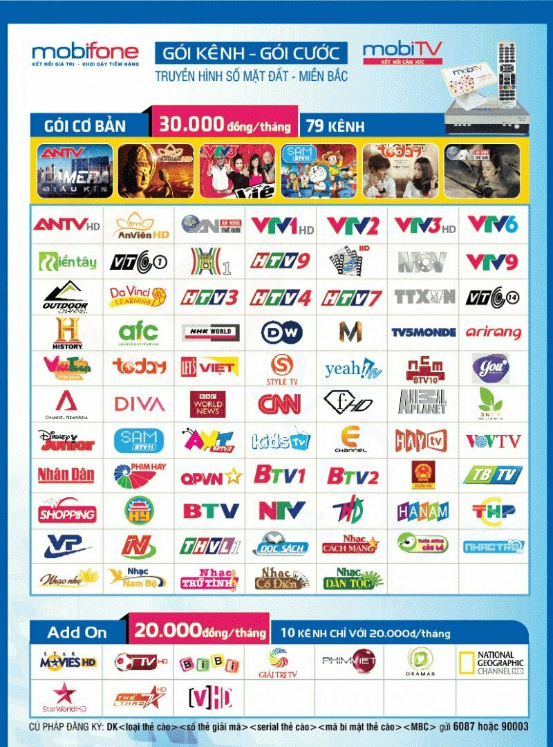 Các kênh trong gói A truyền hình MobiTV khu vực Miền Bắc | HDnew - Chia sẻ đam mê