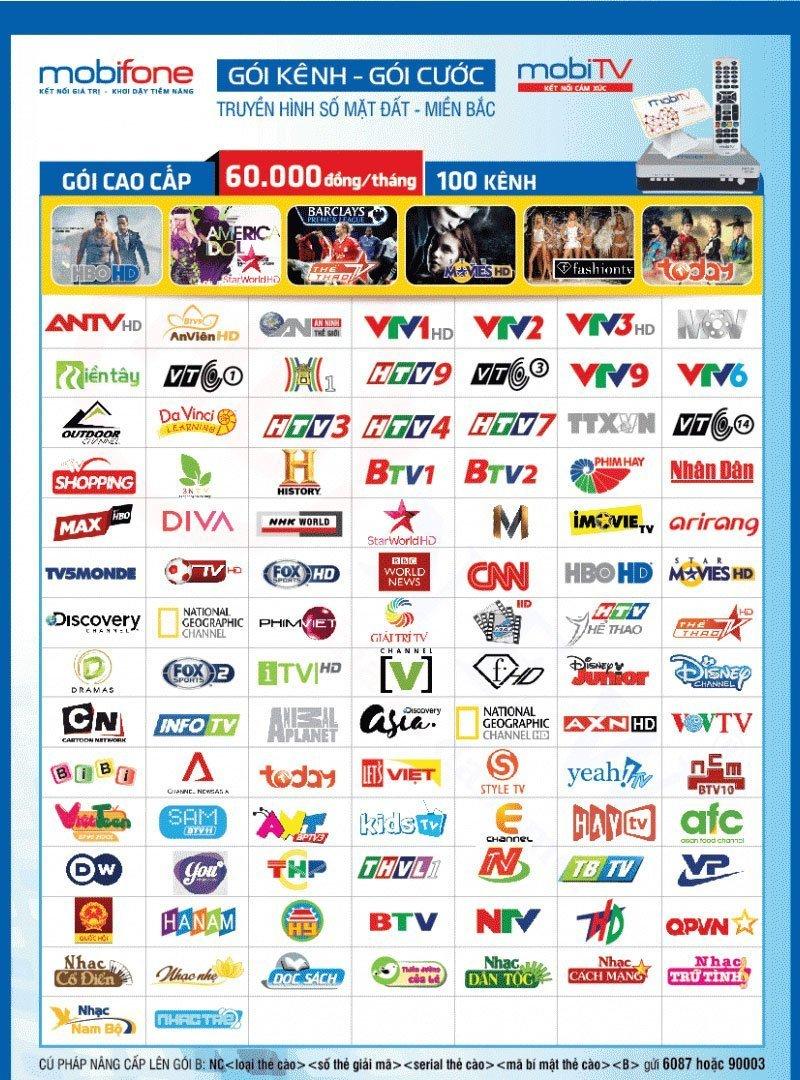 Các kênh trong gói B truyền hình MobiTV khu vực Miền Bắc | HDnew - Chia sẻ đam mê