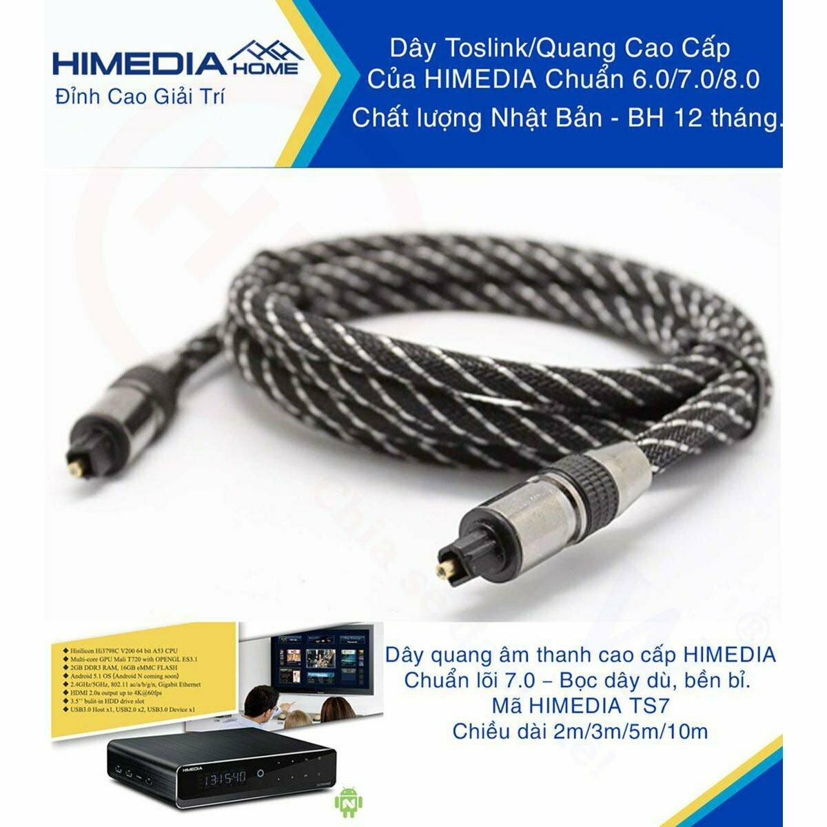 HiMedia Home TS703   Dây quang (TOSLINK) cao cấp, lõi 7.0, vỏ bọc dây dù, dài 3m, chất lượng Nhật Bản   HDnew - Chia sẻ đam mê