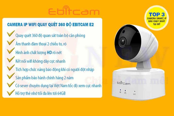 Camera Ebitcam E2X - Camera Wi-Fi trong nhà 2.0 MP (Full HD 1080p)   HDnew Camera