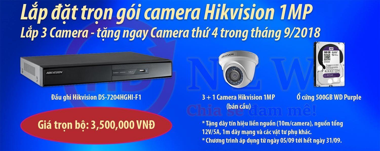 Khuyến mại lắp đặt camera Hikvision 1MP 09/2018   HDnew Camera